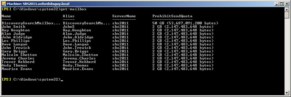Mailbox size quota exchange 2010 powershell new-mailcontact