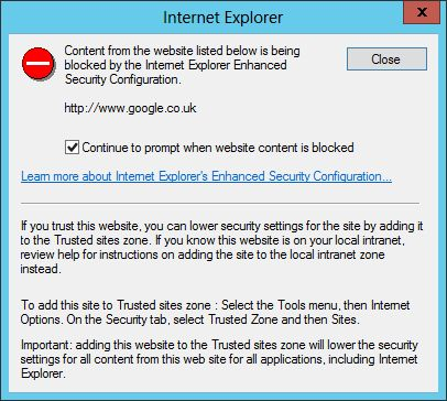 IE Blocked Content Warning