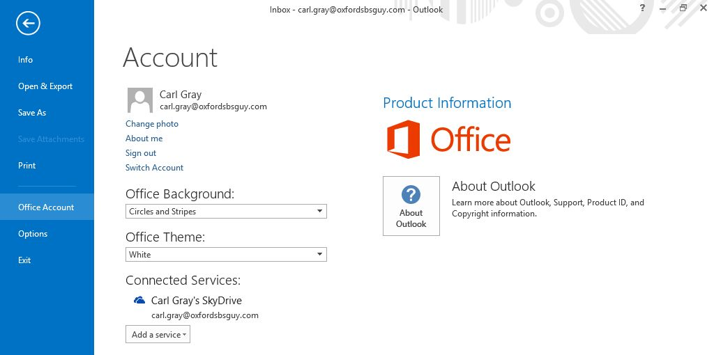 Office 2013 Office Acount Settings signed in.