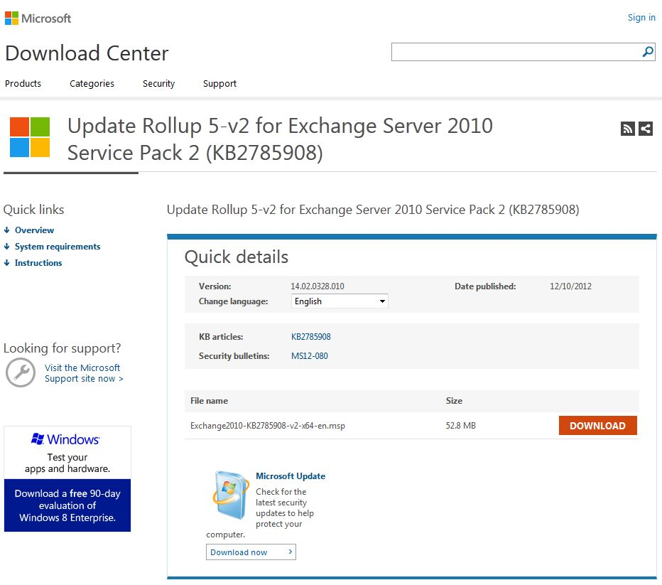 Update Rollup 5-v2 for Exchange Server 2010 Service Pack 2