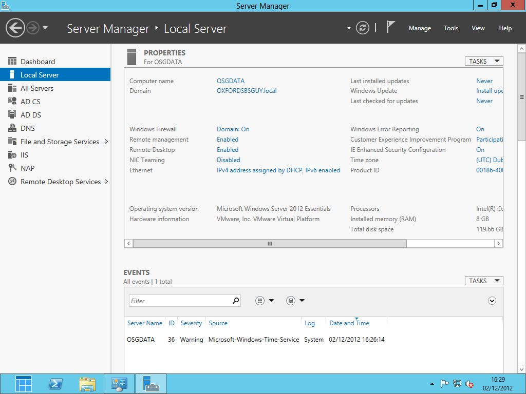 Windows 2012 Essentials Server Manager Local Server