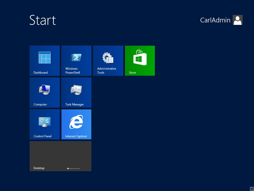 Windows 2012 Essentials Start Screen