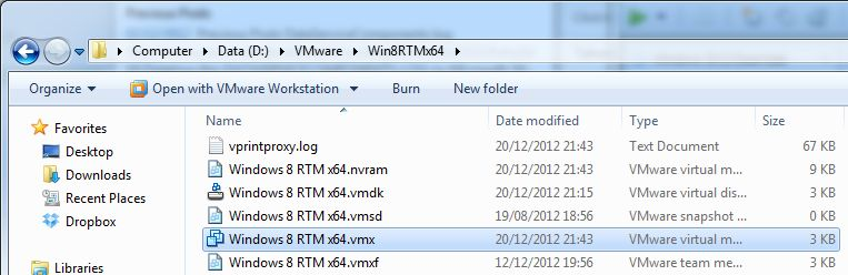 Windows 8 VM VMX file location