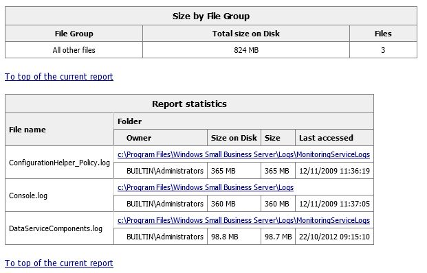 File Server Resource Manager - Extract of a Storage Report