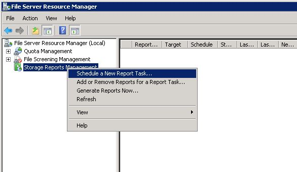 File Server Resource Manager - Schedule a New Report Task