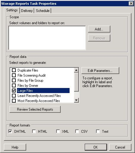 Schedule a New Report Task - Select Large Files