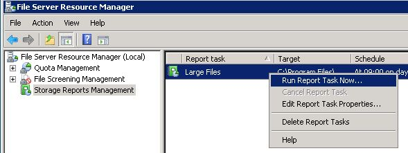 File Server Resource Manager - Run Report Task Now