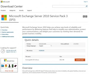 Exchange 2010 SP3 Download