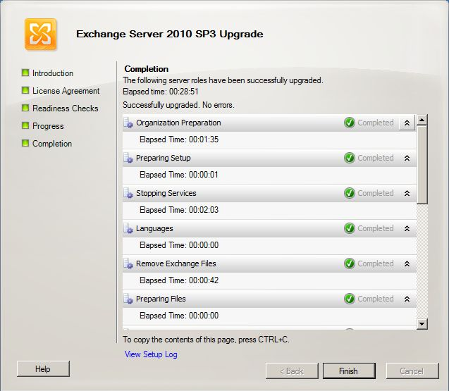 Exchange 2010 SP3 install complete