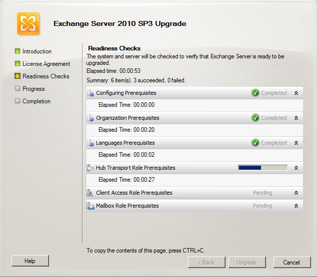 Exchange 2010 SP3 install - readiness check