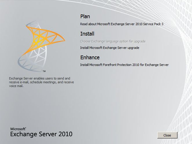 Exchange 2010 SP3 install start
