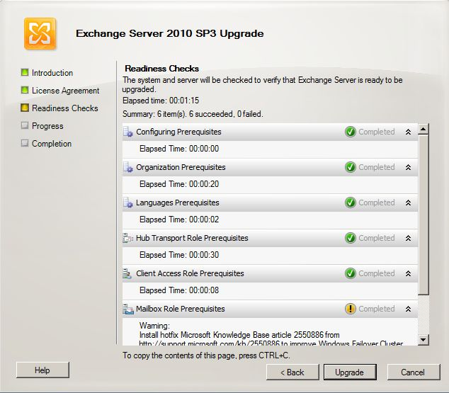Exchange 2010 SP3 install - upgrade