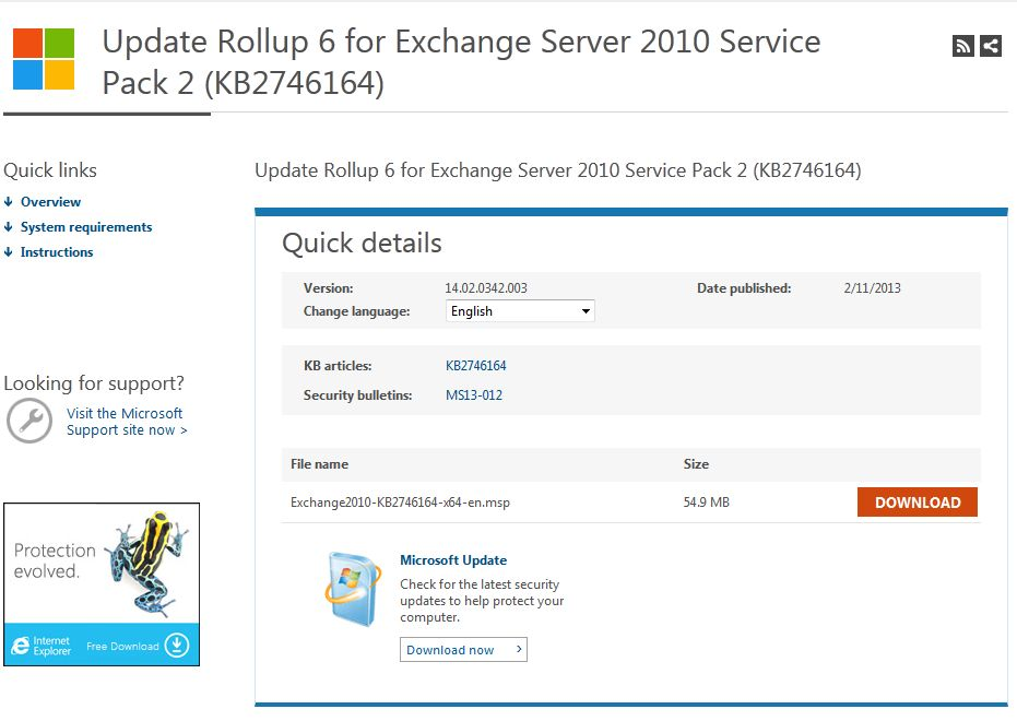 Exchange 2010 Update Rollup 6