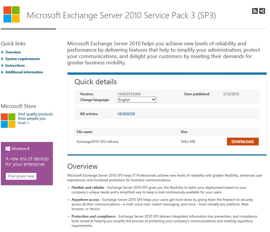 Download Exchange 2010 SP3