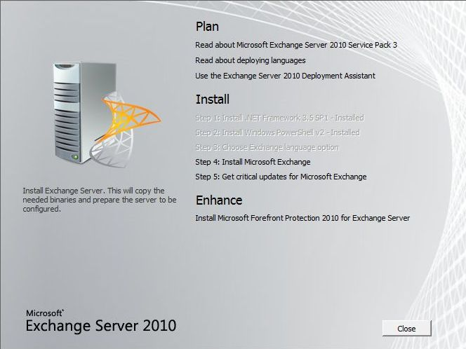 Exchange 2010 SP3 Installation