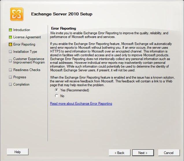 Exchange 2010 Installation - Error Reporting