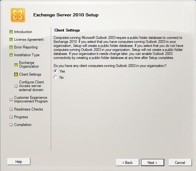 Exchange 2010 Installation - Client Settings