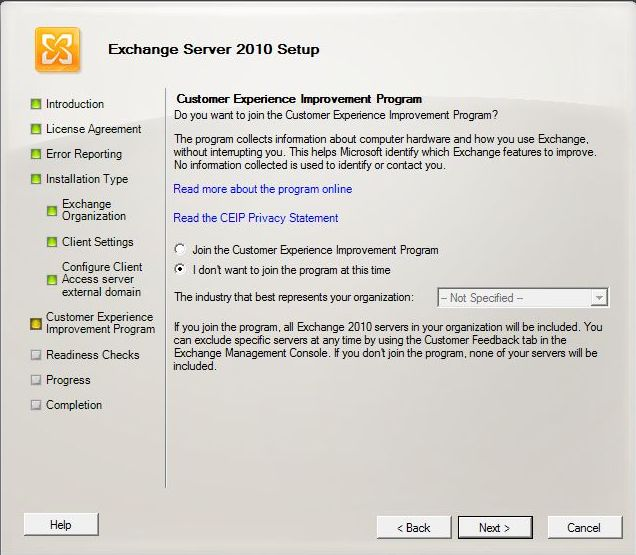 Exchange 2010 Installation - Customer Experience