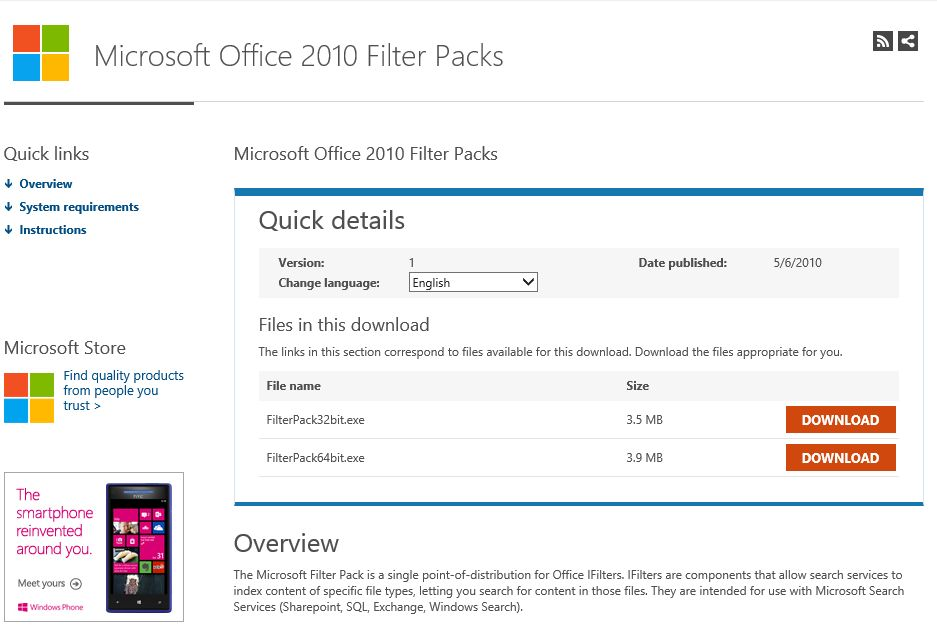 Download Microsoft Office 2010 Filter Pack