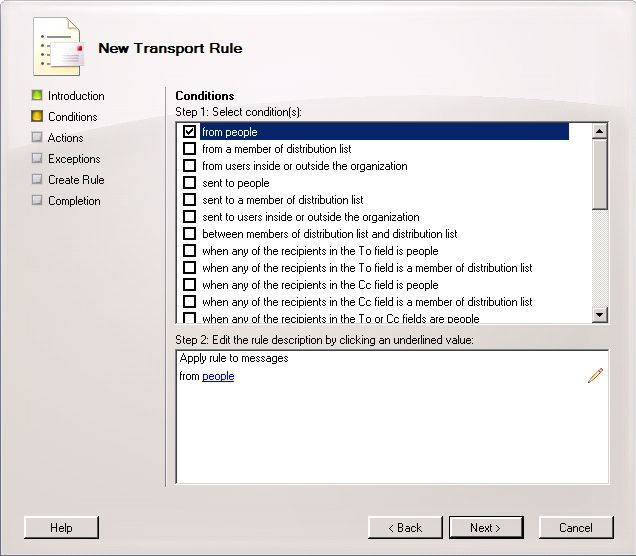 Exchange - New Transport Rule Conditions