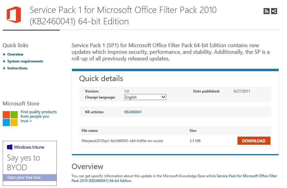 Download Microsoft Office 2010 Filter Pack SP1