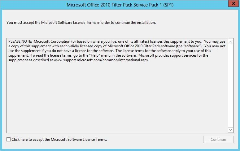 Install Microsoft Office 2010 Filter Pack SP1