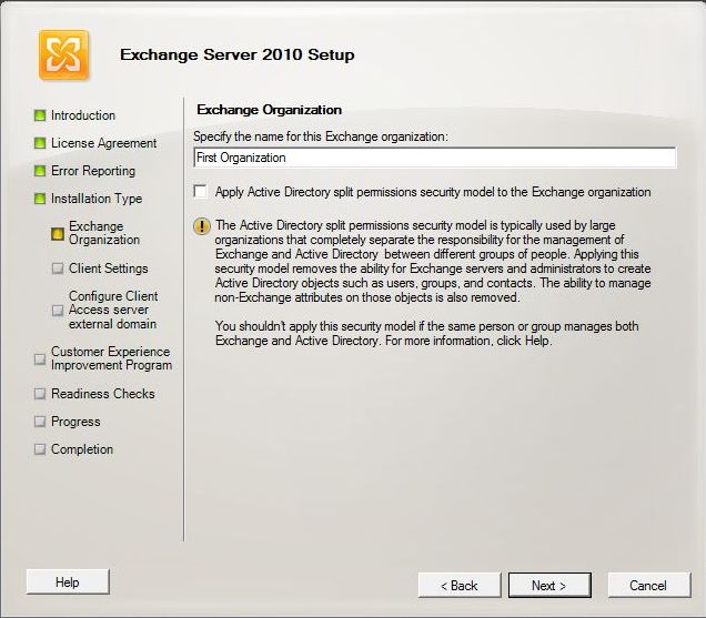 Exchange 2010 Installation - Specify the Name of this Organization