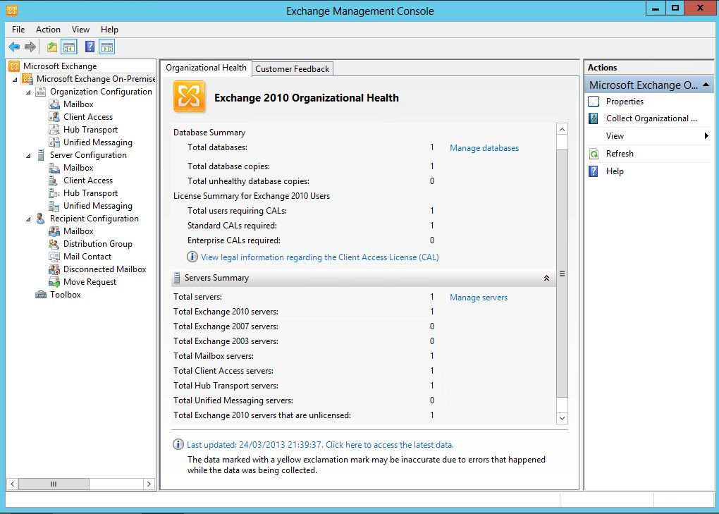 How to install exchange 2010 sp3 on windows server 2012 oxford sbs guy - Exchange management console ...