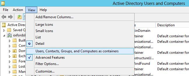 ADUC - User, Contacts, Groups and Computers as containers.