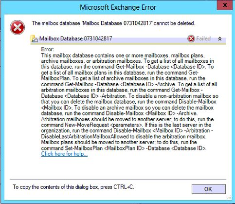 Error: This mailbox database contains one or more mailboxes. Arbitration Mailbox
