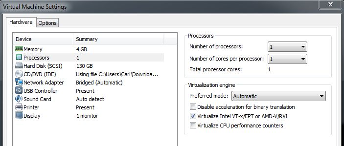 Virtual Machine Settings - Processors Virtualization Engine