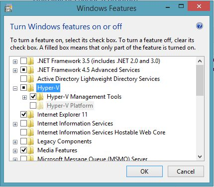 Windows 8.1 Turn Windows features on or off