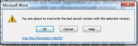 Word 2010 Recover Unsaved File - confirm save