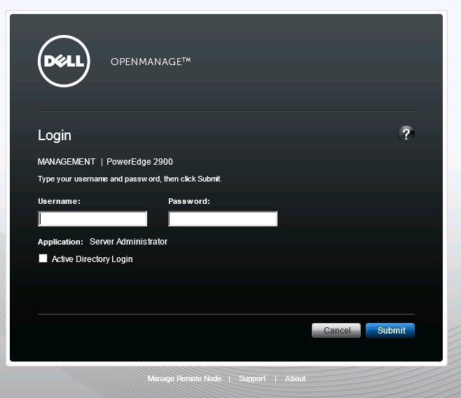 Dell OpenManage Login