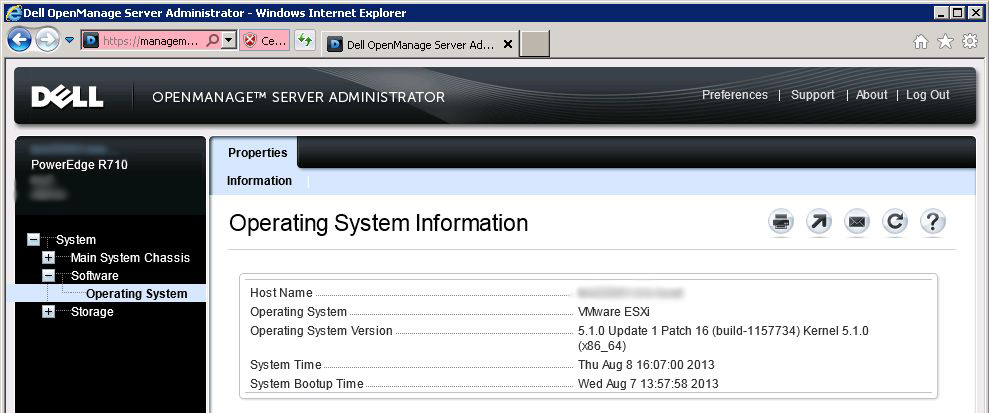 Dell OpenManage Server Administrator ESXi interface