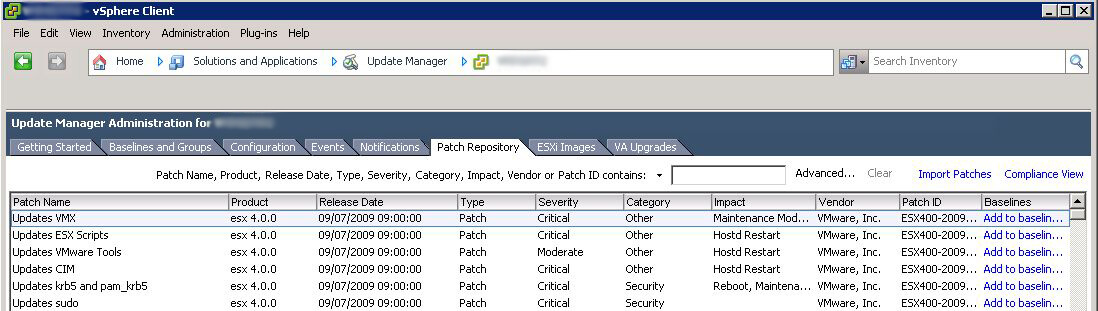 VMware Update Manager - Patch Repository