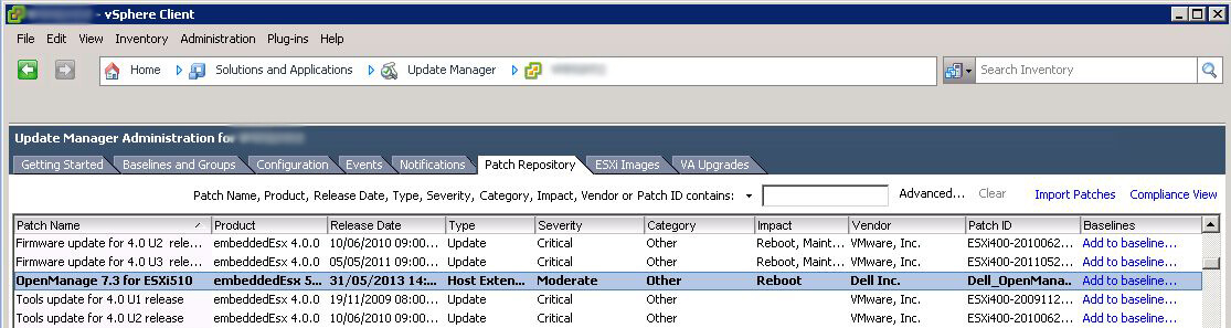 VMware Patch Repository showing Dell OpenManage 7.3 for ESXi 510 patch
