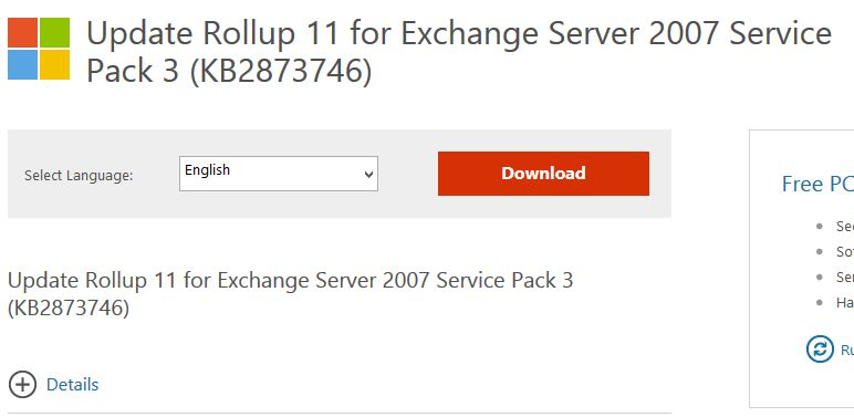 Update Rollup 11 for Exchange Server 2007 Service Pack 3 (KB2873746)