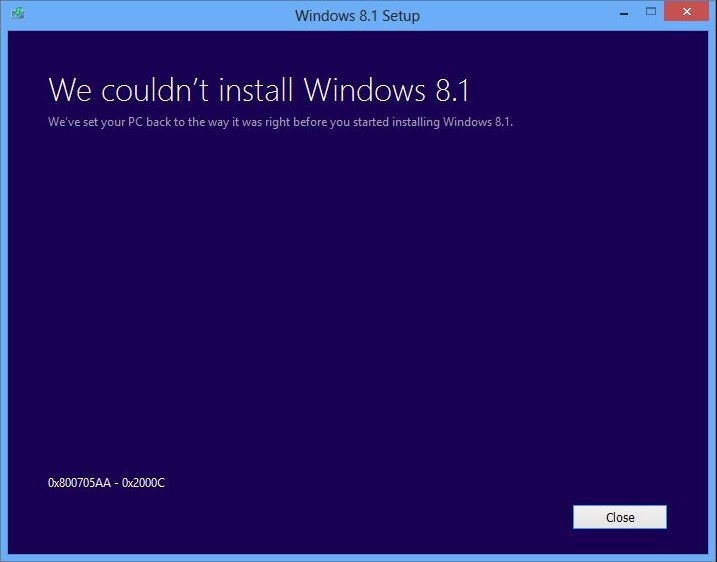 We couldnt install windows 8.1 0x800705AA-0x2000C