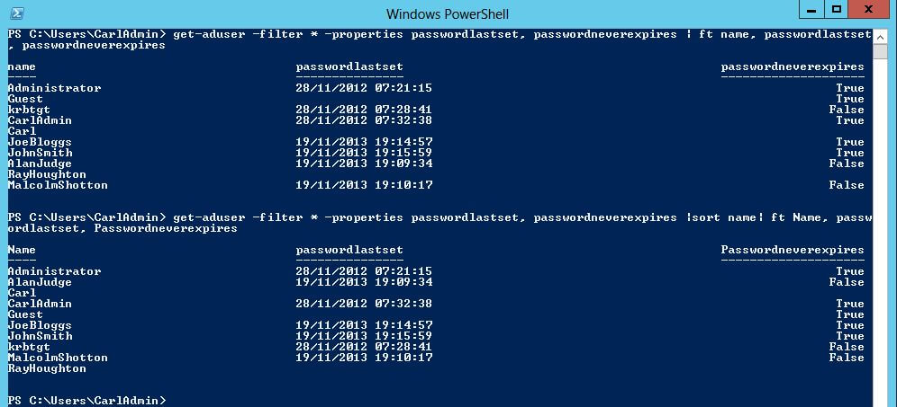 get-aduser properties passwordlastset passwordneverexpires sort