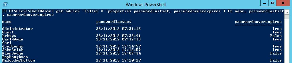 get-aduser properties passwordlastset passwordneverexpires