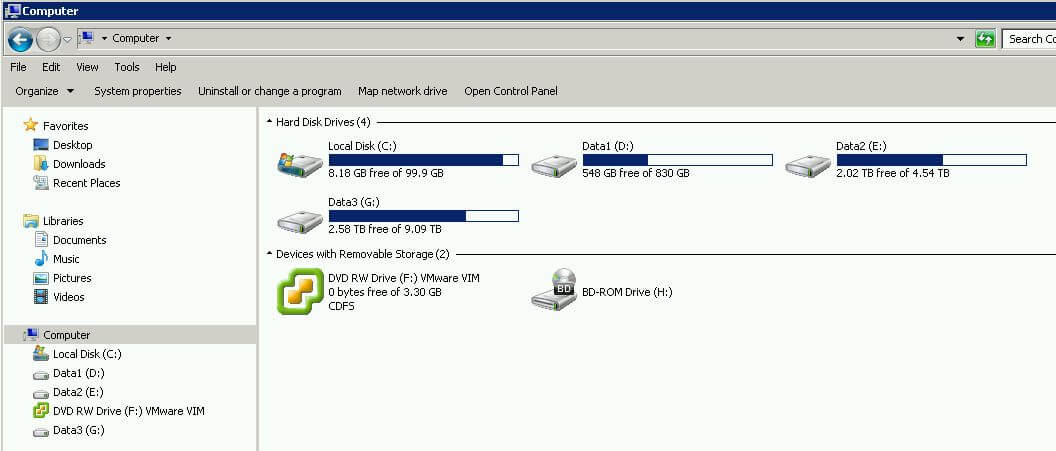 Veeam Backup Server diskspace