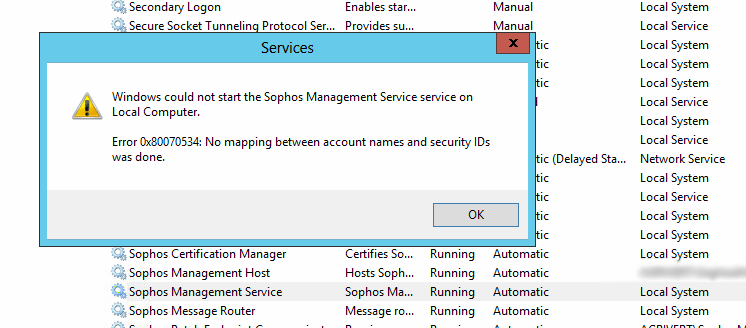 How to resolve Sophos Enterprise Console error - the user is