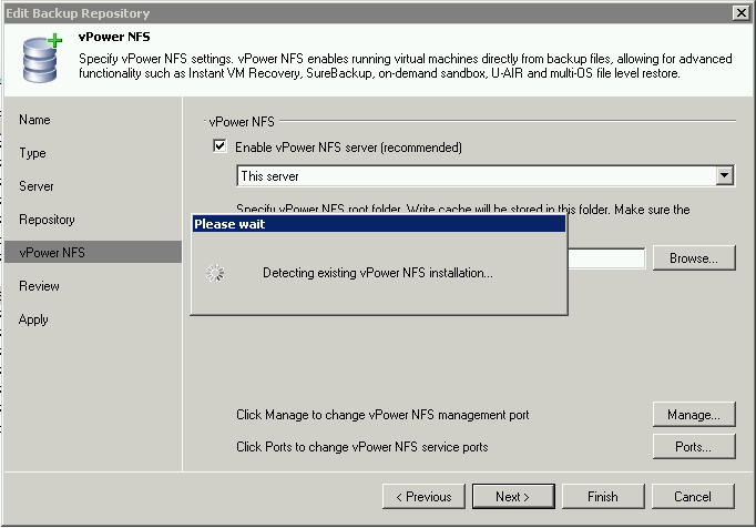 Detecting existing vPower NFS installation