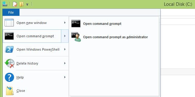 File - Open command prompt here - Open command prompt as administrator