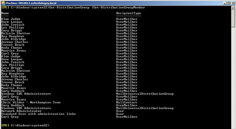 Exchange powershell how to enumerate distribution lists for Windows distribution