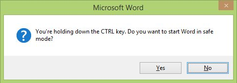 Youre holding down the CTRL Key. Do you want to start Word in safe mode
