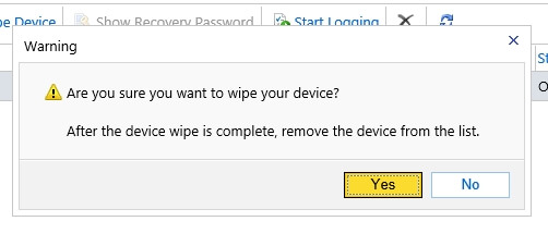 Are you sure you want to wipe your device