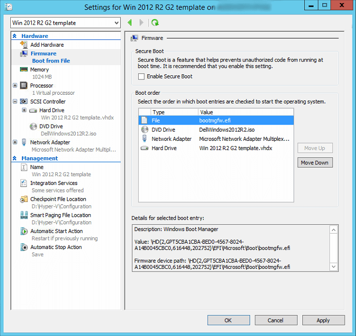 Windows update fails on Hyper-V 2012 R2 generation 2 virtual