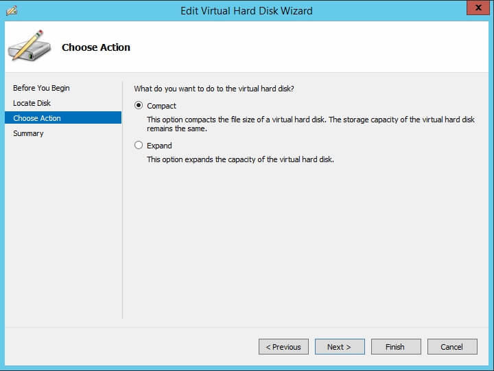 Edit Virtual Hard Disk Wizard - Compact and Expand